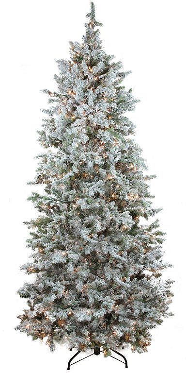 Asstd National Brand 75 Pre Lit Flocked Slim Colorado Spruce