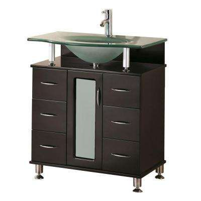 Huntington 30 In W X 22 In D Vanity In Espresso With Glass Vanity Top In Aqua Single Bathroom Vanity Single Sink Vanity Oak Bathroom Vanity