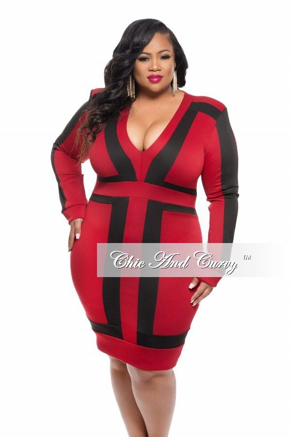 New Plus Size Bodycon Dress With V Neck In Color Block Dark Red And