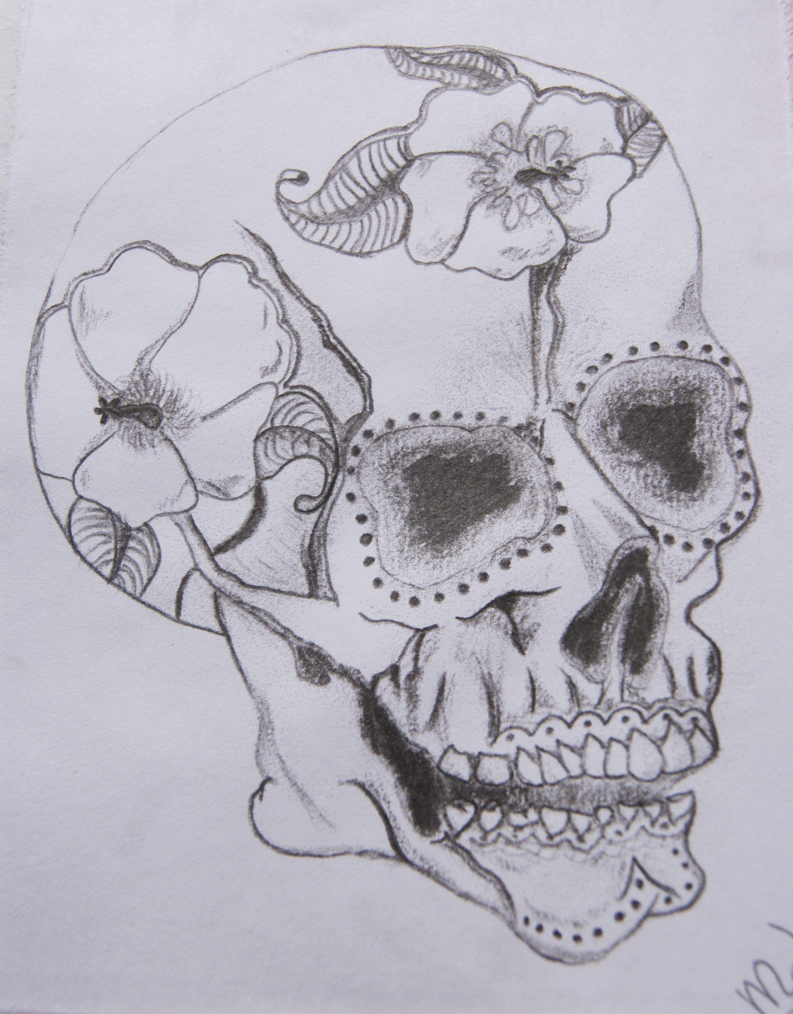 afbeeldingsresultaat voor doodshoofd tekenen bloemen tekenen