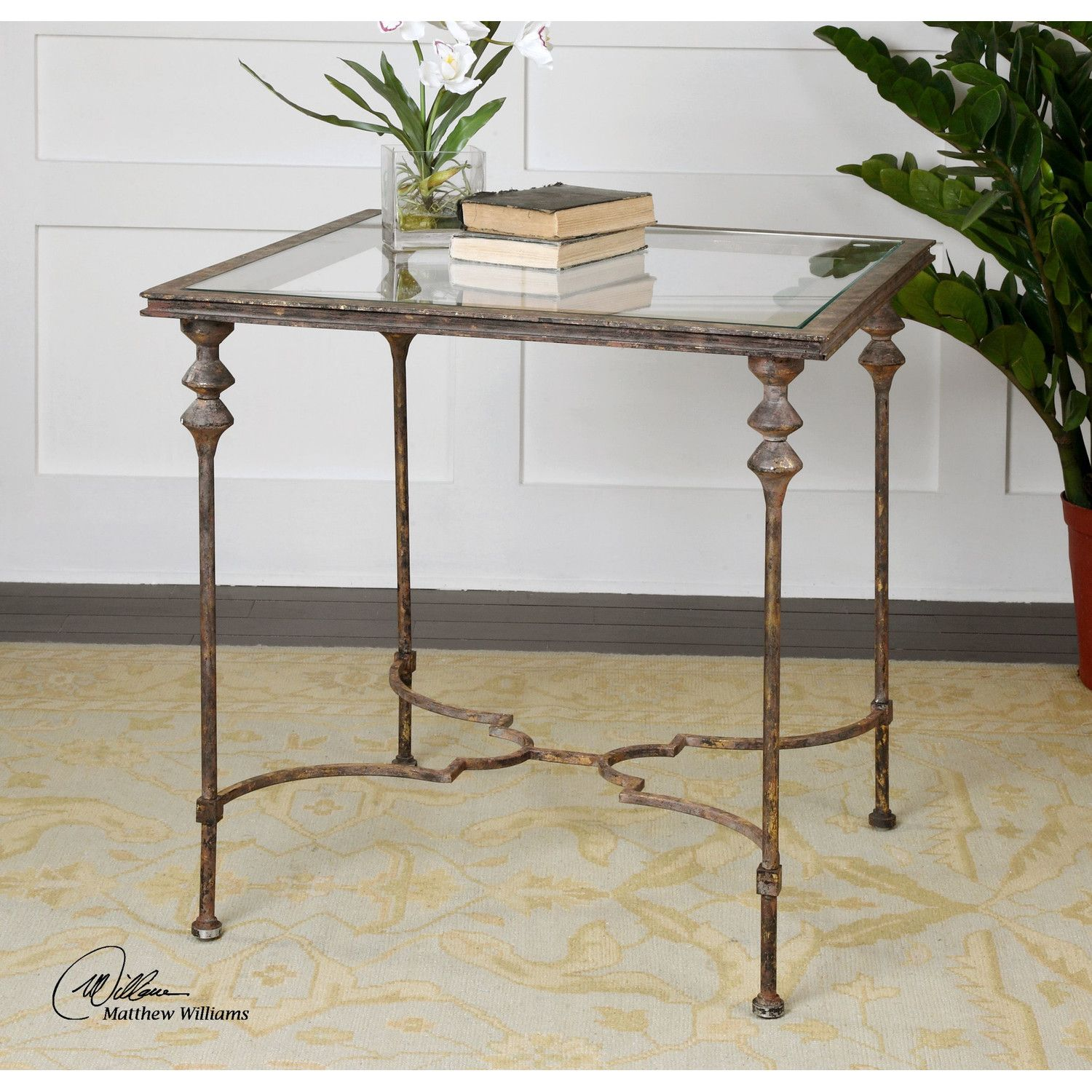 Uttermost Quillon Glass End Table Reviews Wayfair Treehouse - Wayfair gold end table
