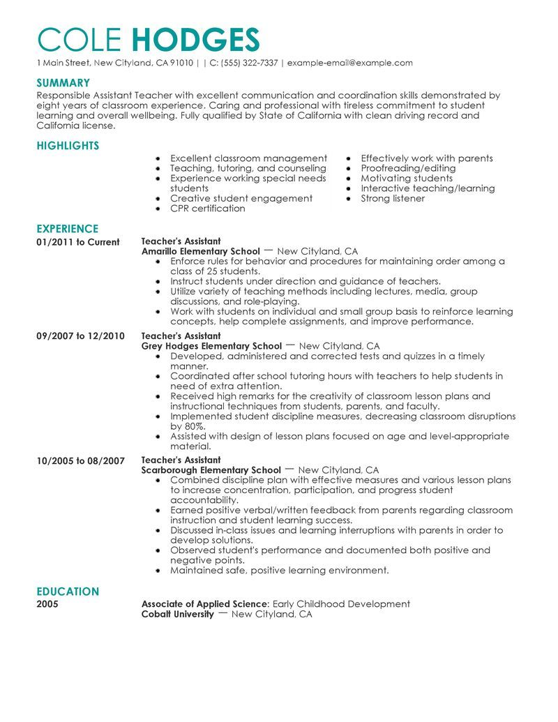 Assistant Teacher Resume Example  Resume Ideas