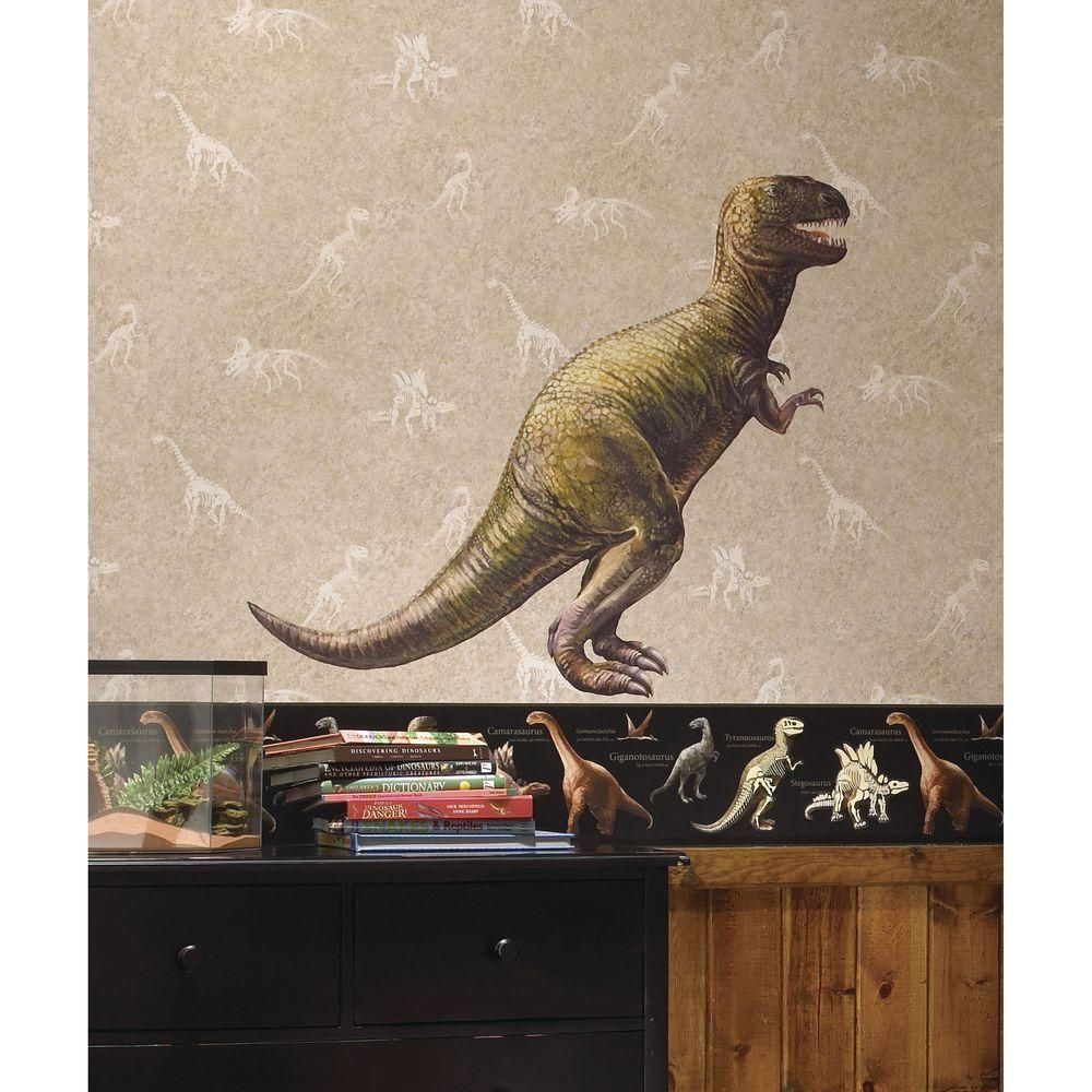5 in. x 19 in. Dinosaur T-Rex Peel and Stick Giant Wall Decal, Green