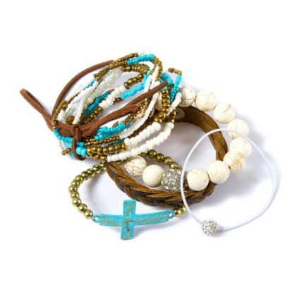 Turquoise, Ivory and Gold Stackable Bracelet Set @Fellow Fellow's Stores  Buy as a set for $19.50