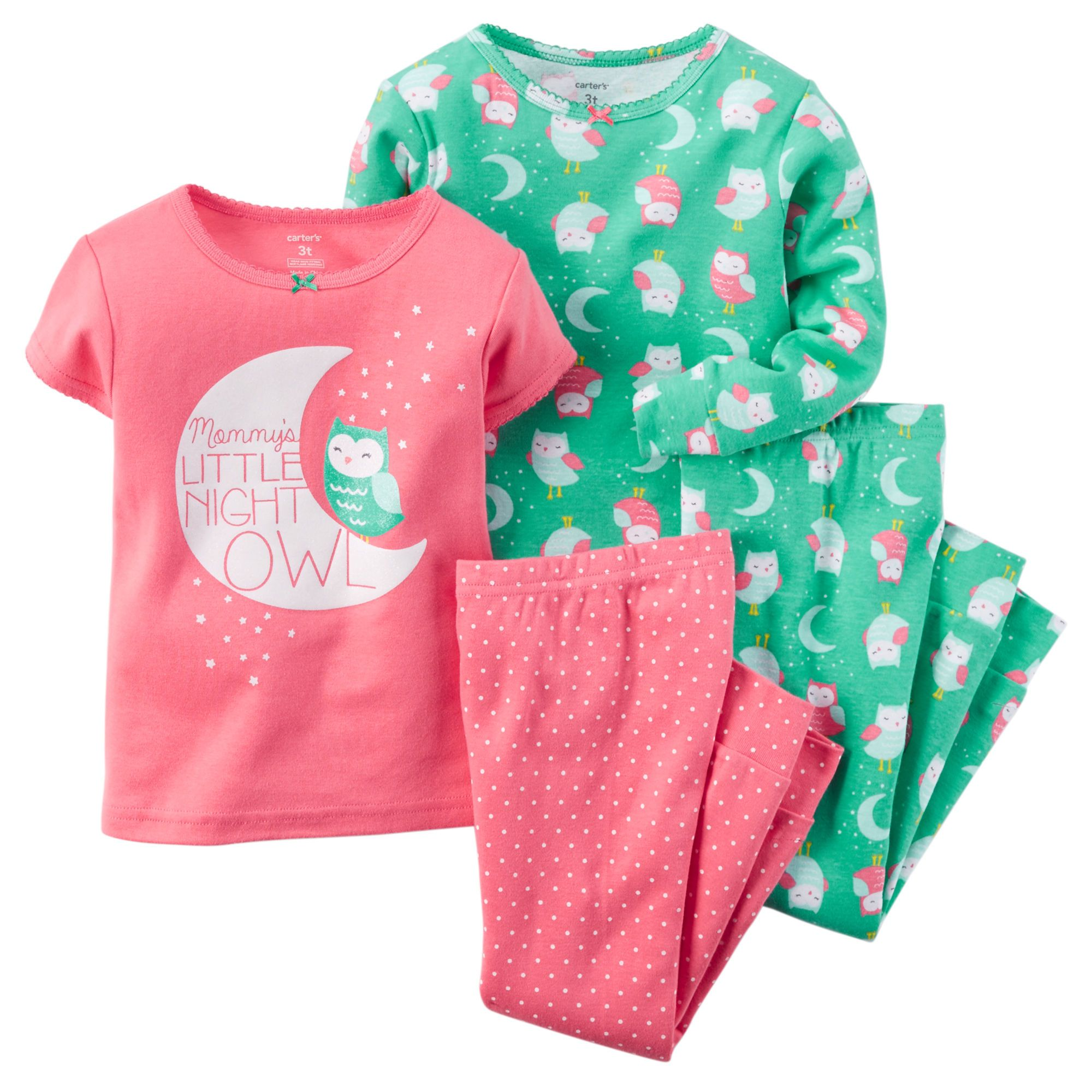 1a6b43a393ef Toddler Girl 4-Piece Snug Fit Cotton PJs