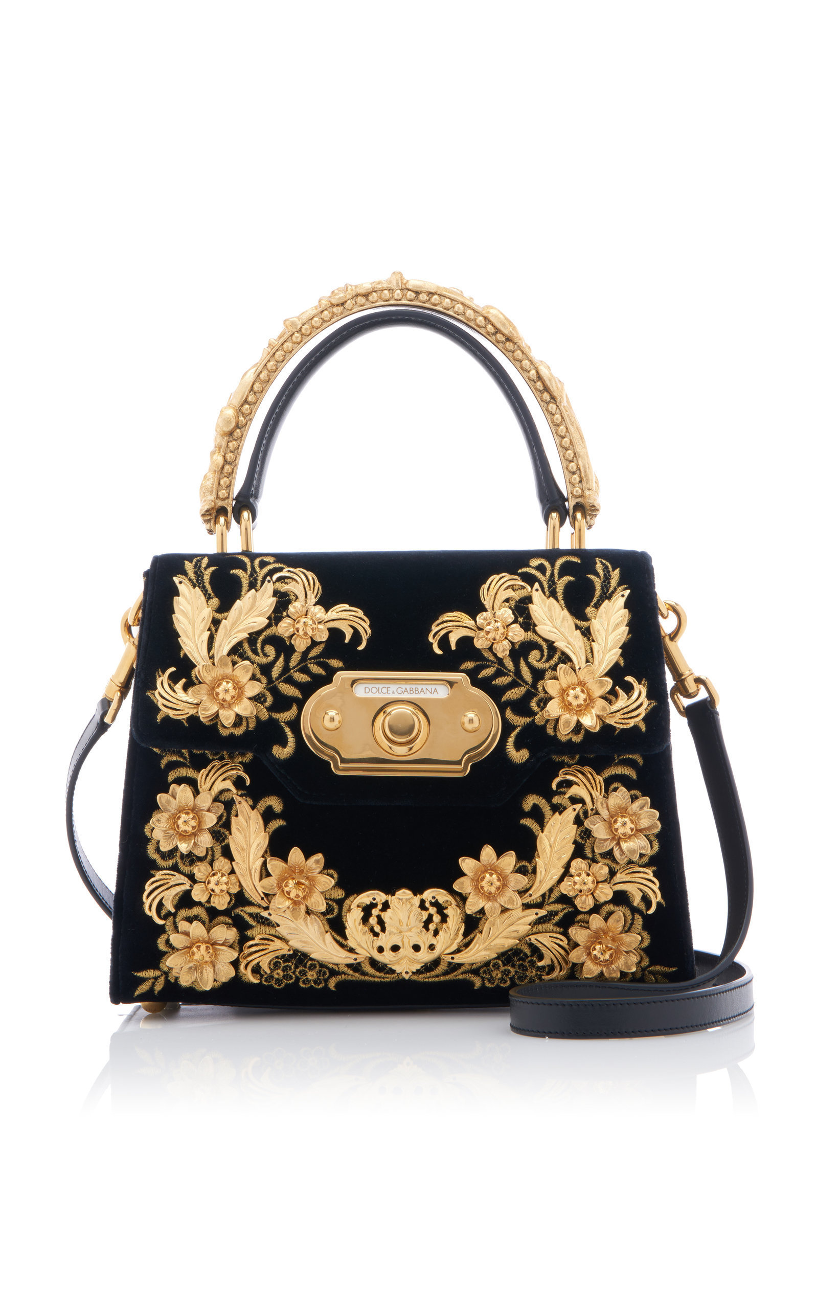 Dolce And Gabbana -Spring 2020 -Love Christmas Dolce & Gabbana Embroidered Velvet Top Handle Bag in 2020 | Bags