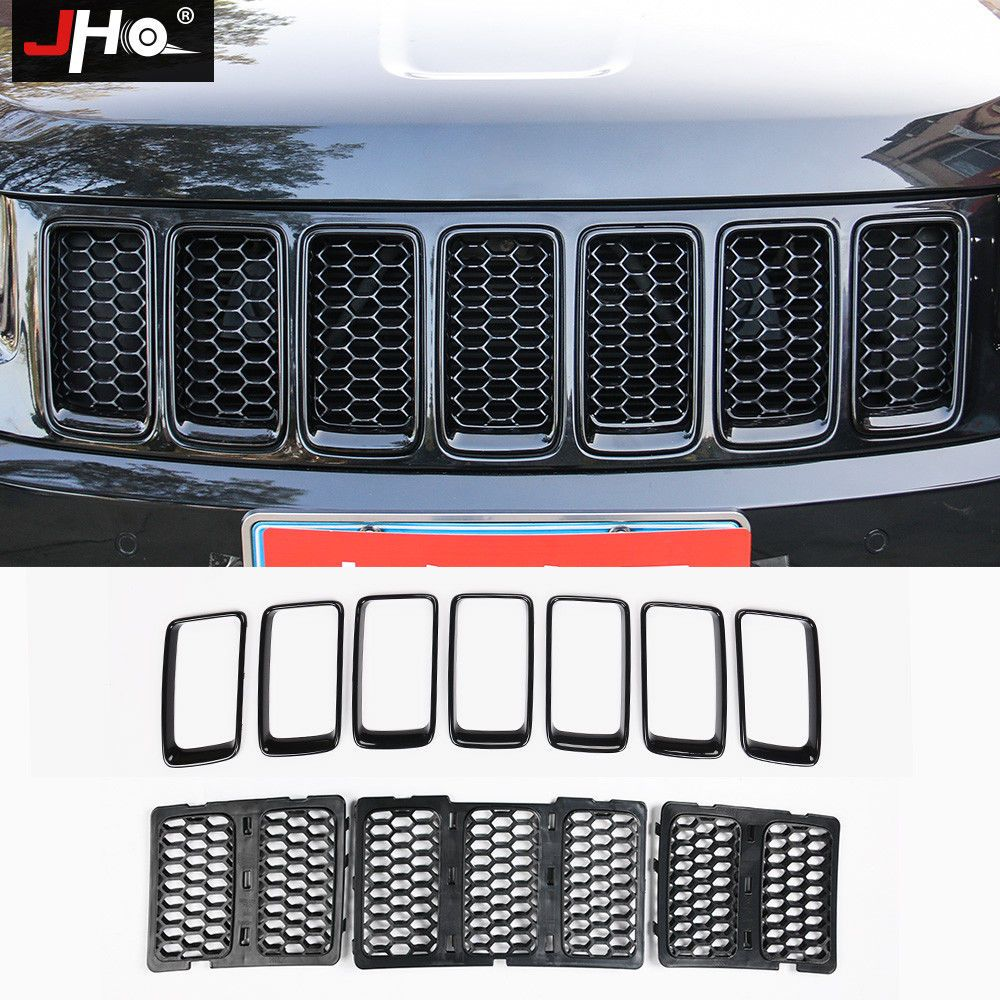 For Jeep Grand Cherokee 14 16 Black Front Grill Mesh Ring Grille Insert Kit Trim