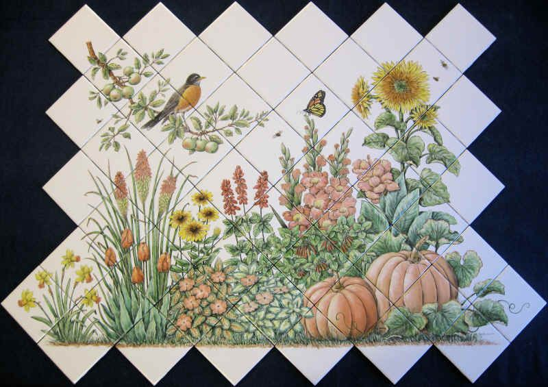 Espinosa S Flower Garden Floral Garden Scene Ceramic Tile Mural Set On The Diagonal