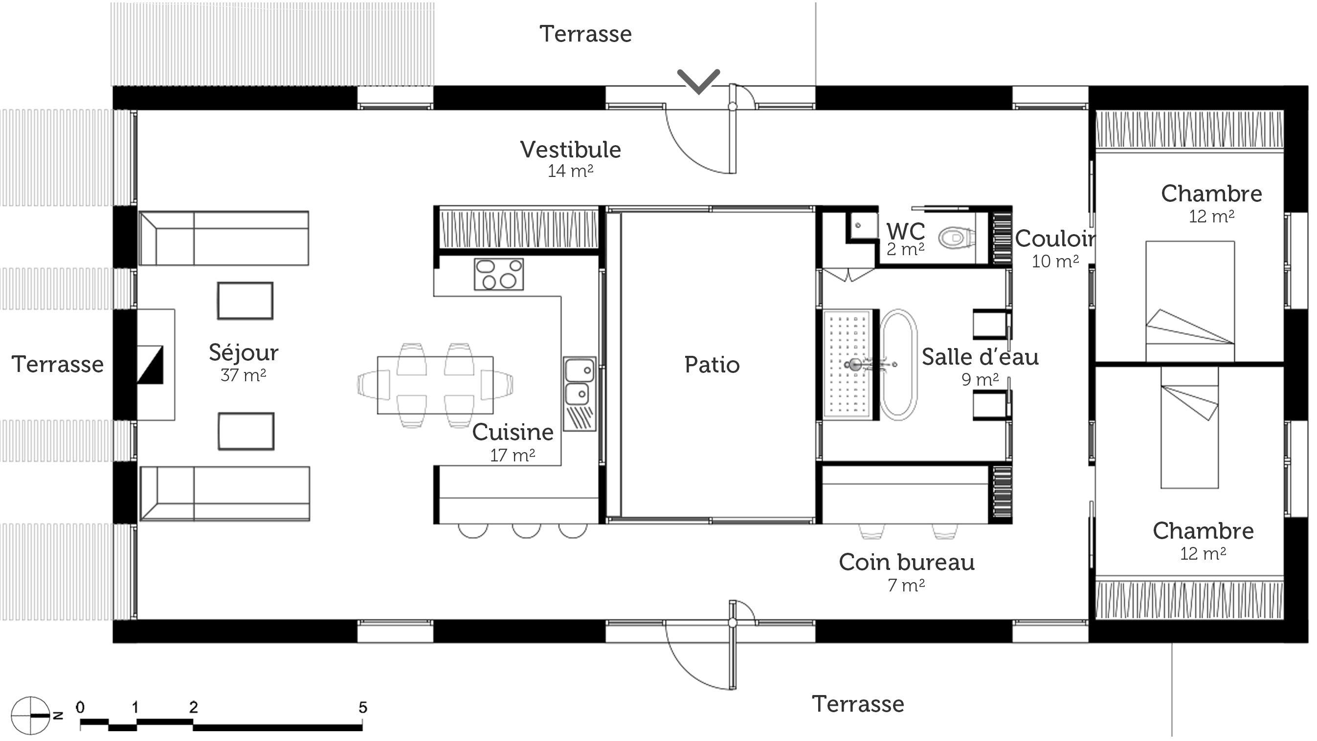 Extrêmement plan-maison-rectangulaire-2-chambres-avec-terrasse.jpg (Image JPEG  JC87