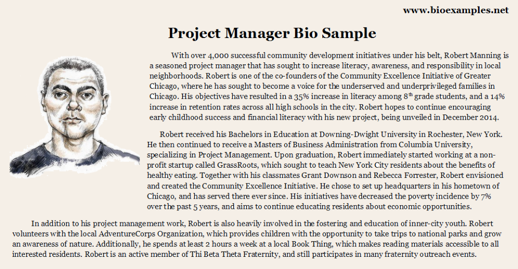 Project Manager Bio Example Bio Examples Pinterest