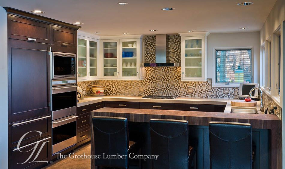 walnut butcher block pastore™ waterfall countertop in il. kitchens