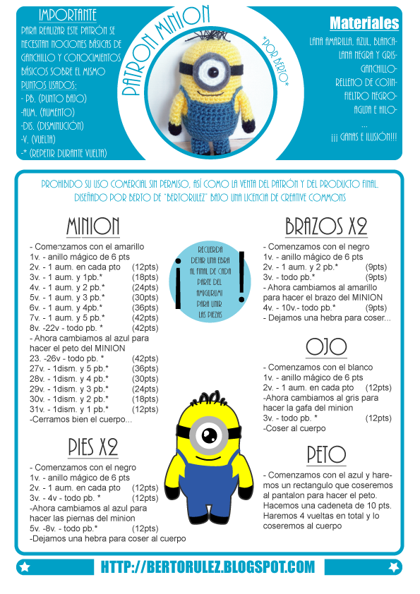 Bertorulez: MINION PATRÓN GRATUITO | Amigurumi | Pinterest | Crochet ...