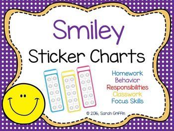 Smiley Face  Polkadot  Sticker Charts  Sticker Chart