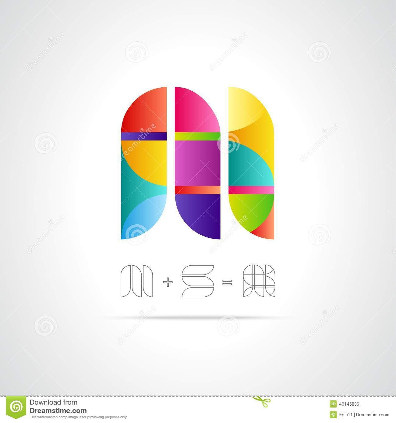 Abstract Vector Logo Design Template Combination Letters M S