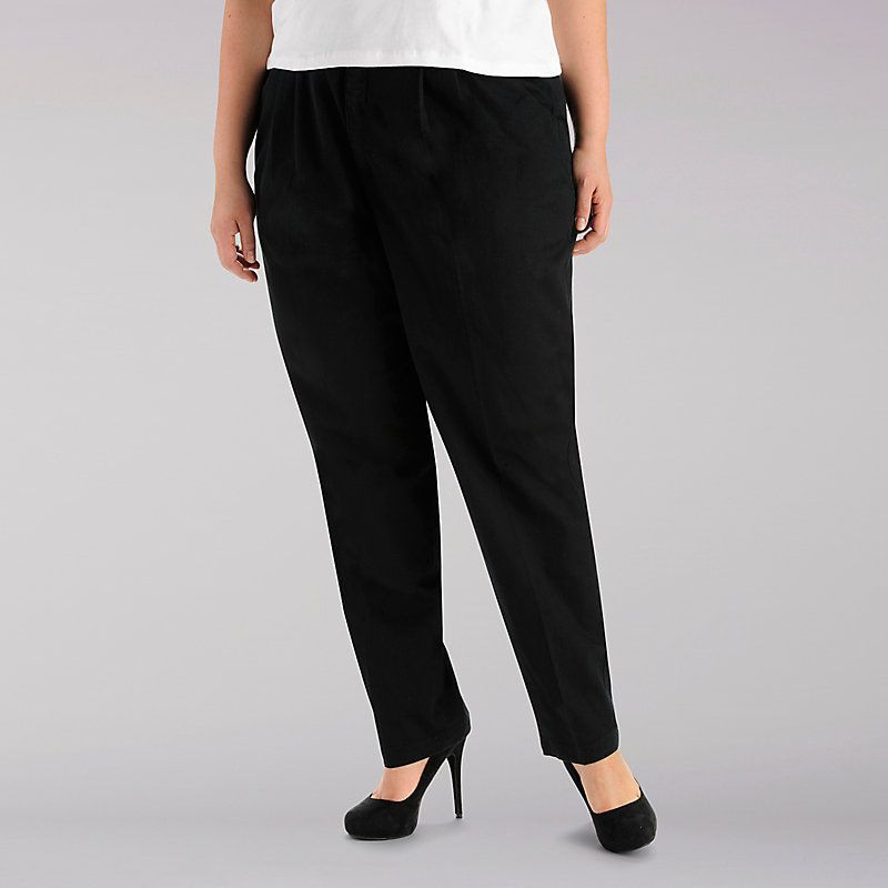 53140906735 Lee Women s Side Elastic Pants - Plus Size  30W M