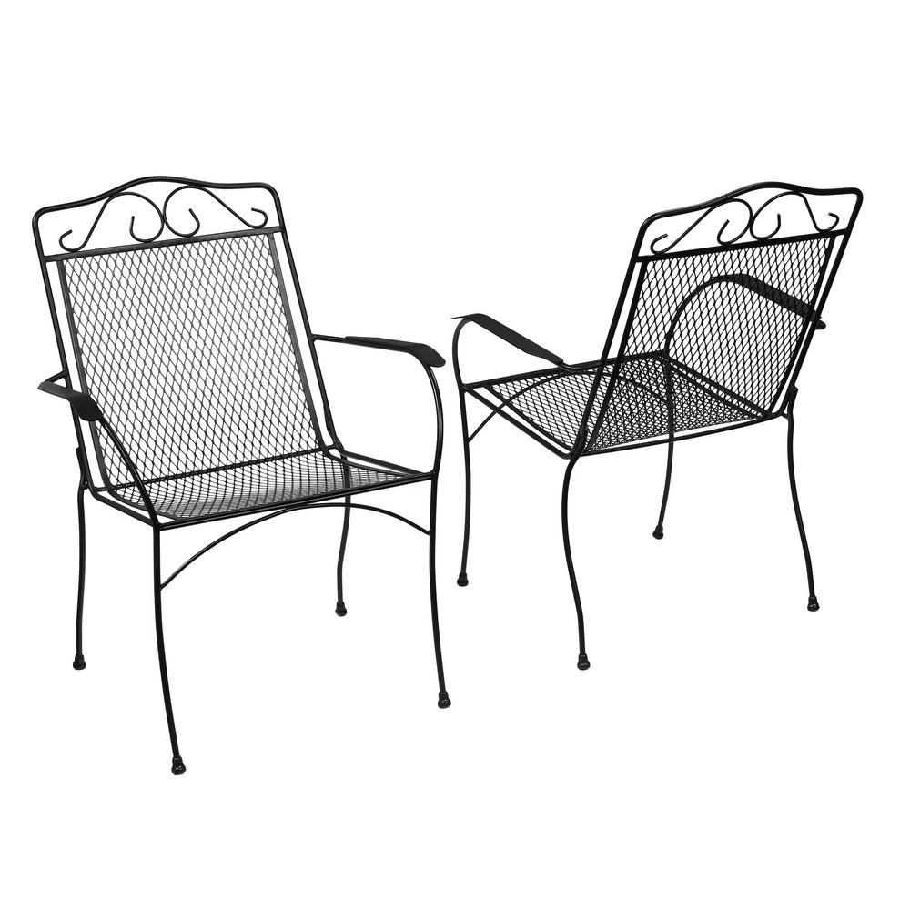 Hampton Bay Nantucket Metal Outdoor Dining Chair 2 Pack 6990700 0205157 Metal Patio Chairs Outdoor Dining Chairs Patio Chairs