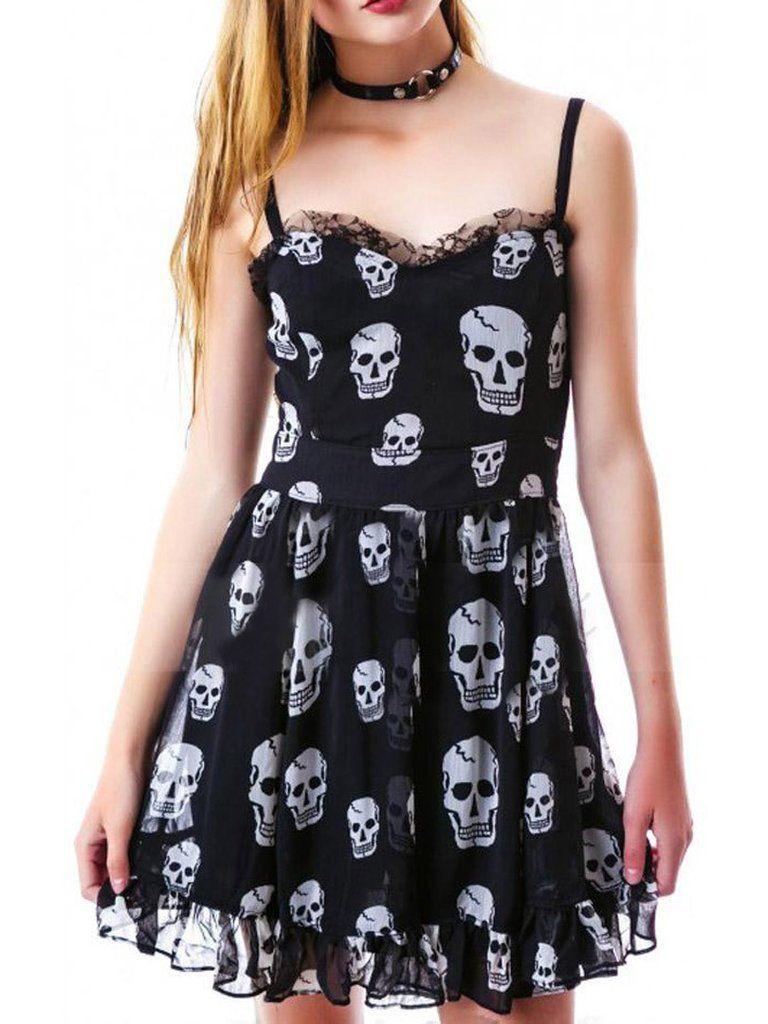 Gothic skull print frill cami dress print skull print and products