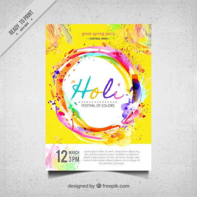holi festival colorful brochure free vector print design
