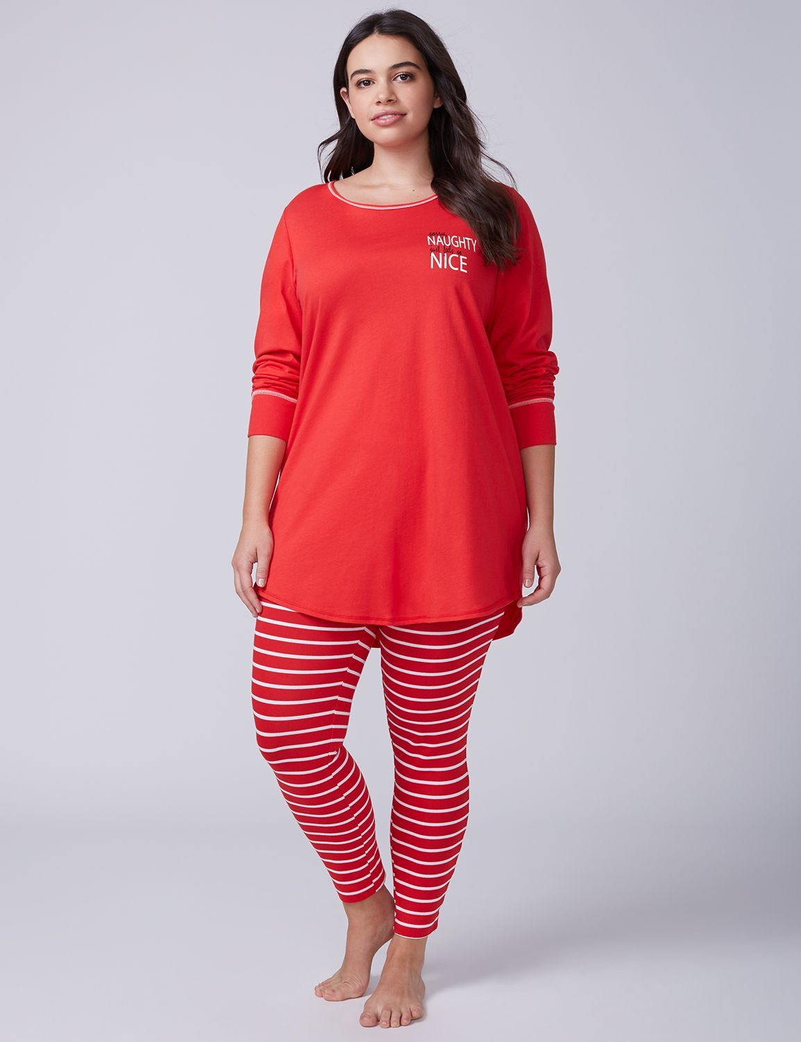 Plus Size Christmas Pajamas.Naughty Nice Tee Legging Pj Set Lane Bryant My Style