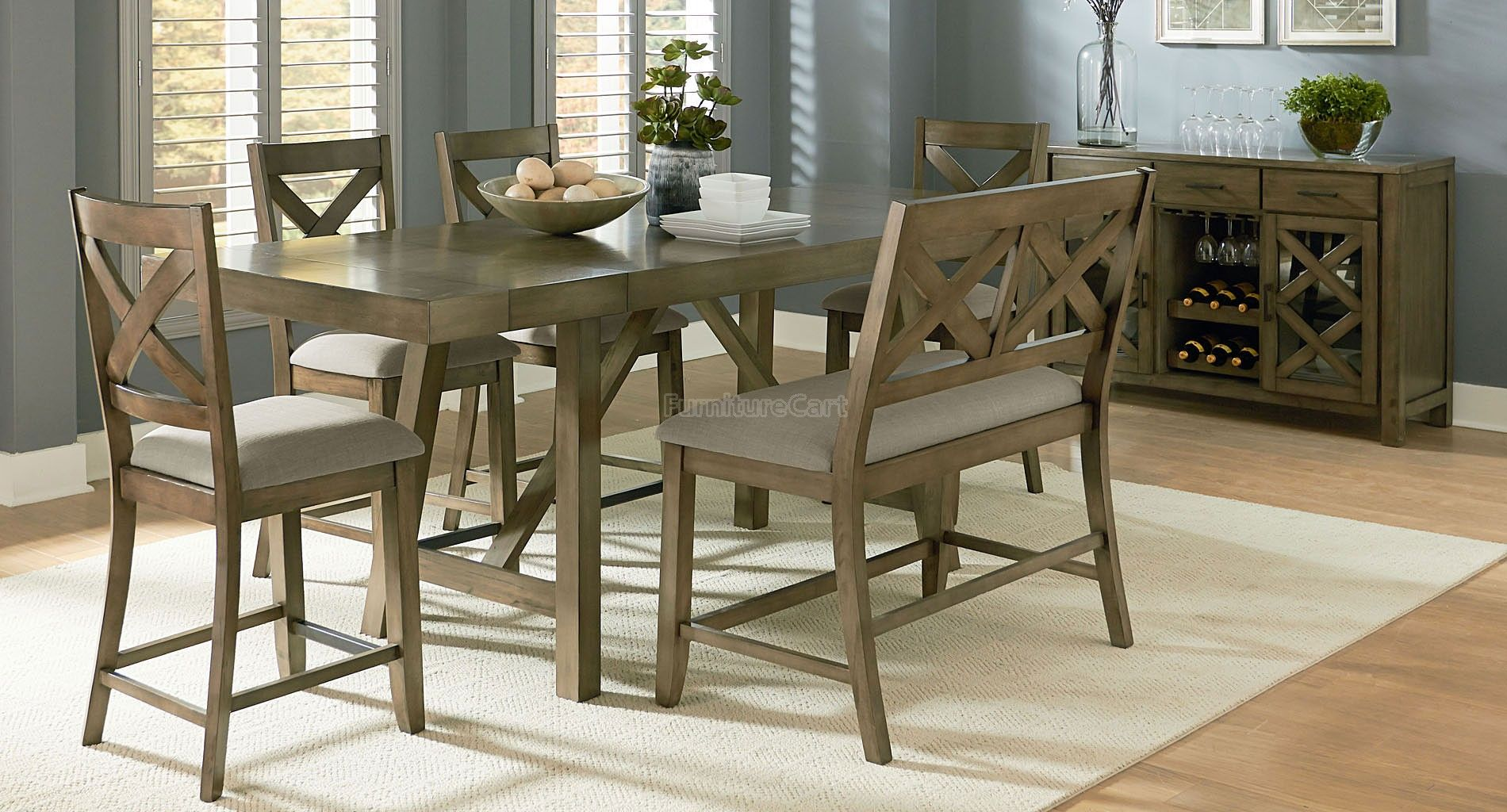Omaha Counter Height Dining Set W X Back Bench Grey Dining