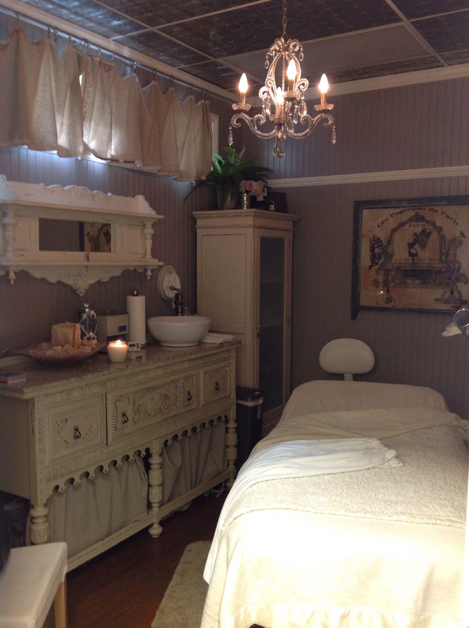 treatment room storage idea massage therapy esthetician