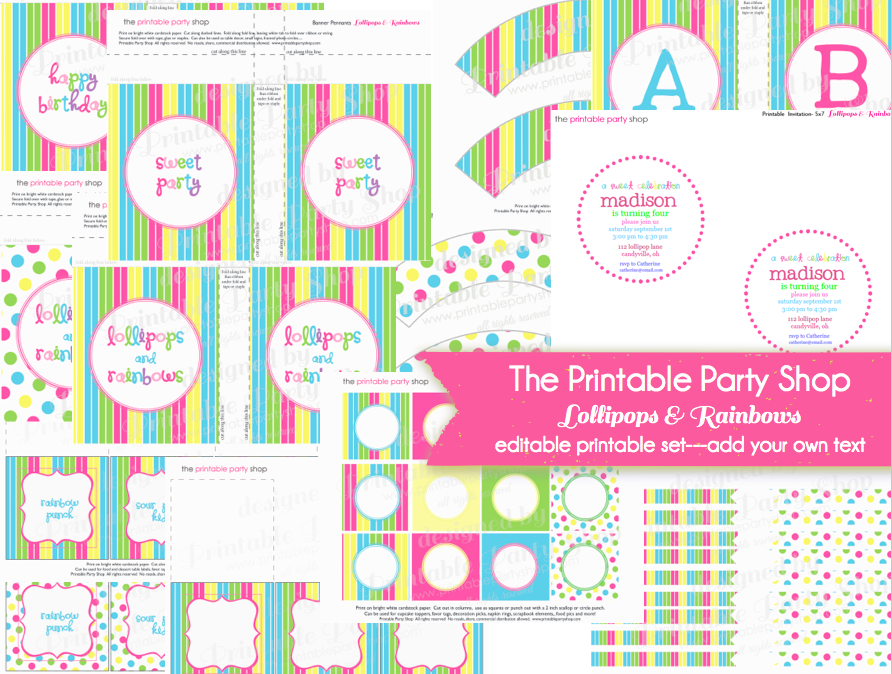Rainbows Lollipops Printable Party Set editable- add your own text ...