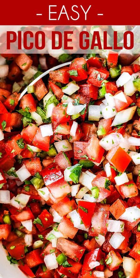 Pico de Gallo, AKA fresh tomato salsa, is made with tomatoes, onions, cilantro, jalapenos, lime juice and salt. It takes minutes to whip up and is great as a party appetizer, snack with chips, or pile it on your favorite enchiladas, nachos, tacos and more! #picodegallorecipes
