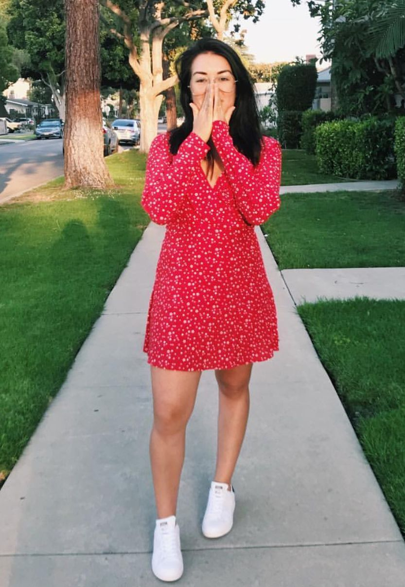 Pinterest Deborahpraha Red Summer Dress White Sneakers Red Summer Dresses White Dress Summer Summer Fashion [ 1206 x 833 Pixel ]