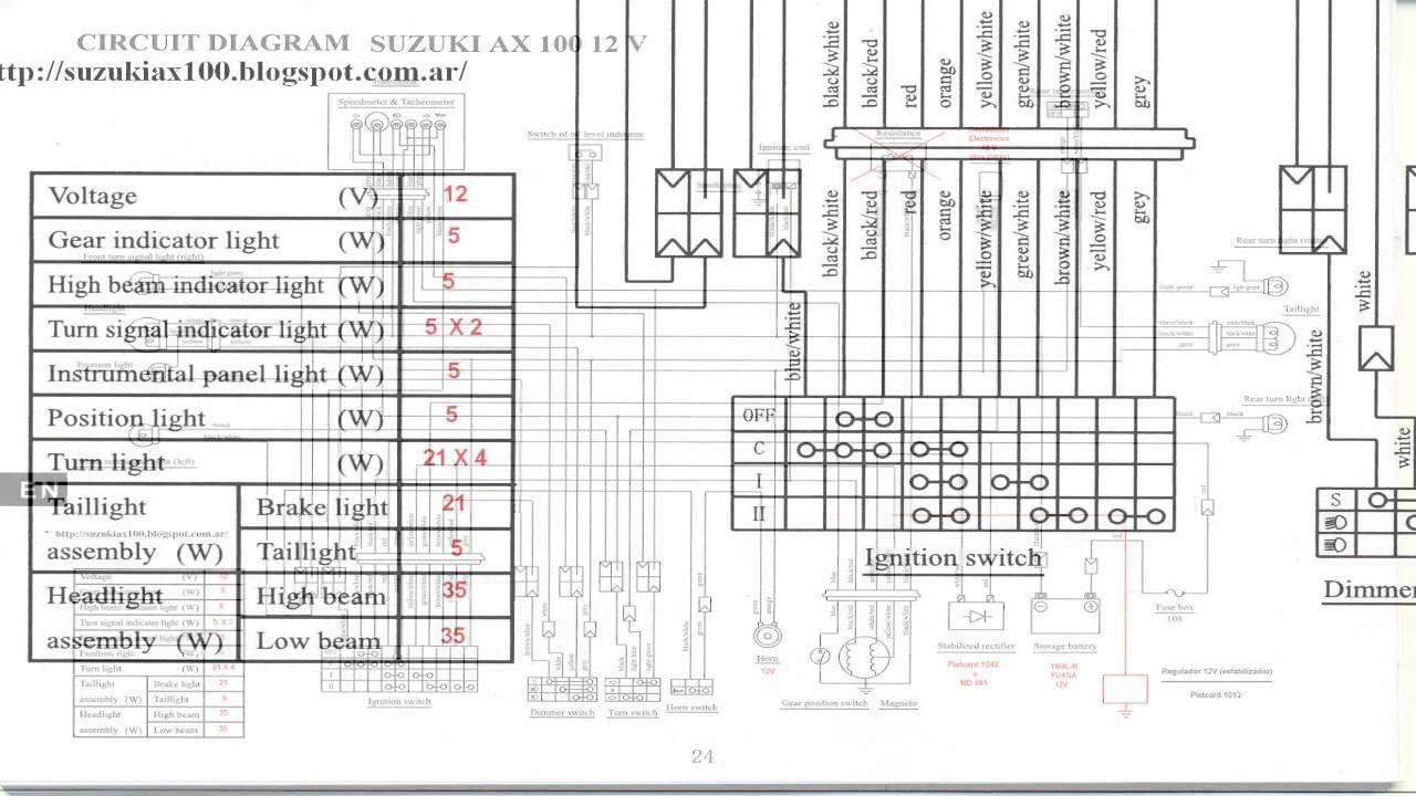 Diagrama del Circuito Electrico para Moto Suzuki Ax 100 12