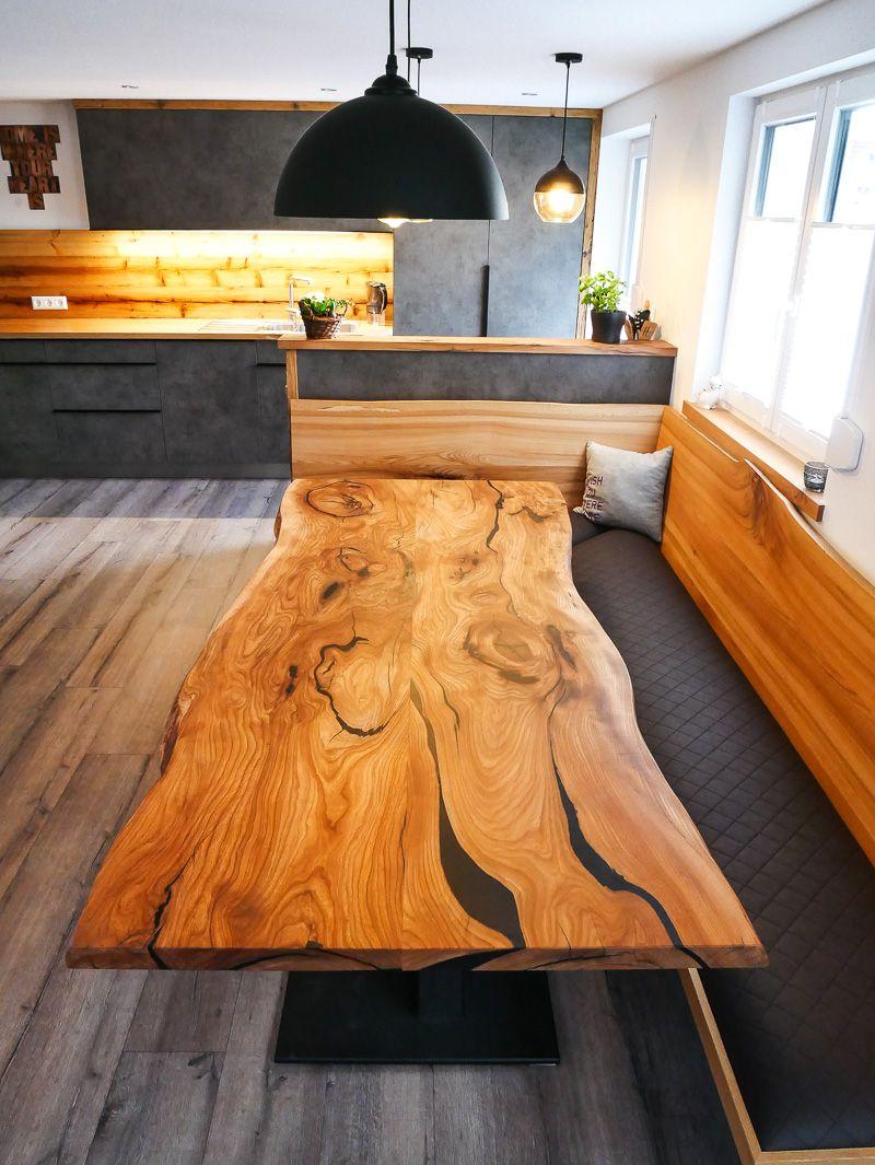 Tisch aus Ulme Massivholz mit Gießharz/ Epoxidharz  Küche neu