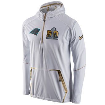 7a0641834 Nike Carolina Panthers White Super Bowl 50 Half-Zip Jacket