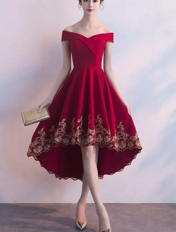 Beautiful Red High Low Party Dress With Gold Applique, Stylish Formal Dress, Cute Party Dress