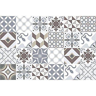 Carreaux de ciment adhésif mural - azulejos - 20 x 20 cm -24 pièces - fliesenspiegel küche überkleben