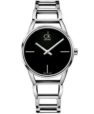 ck Calvin Klein Watch, Women's Swiss Stately Stainless Steel Bracelet 34mm K3G23121