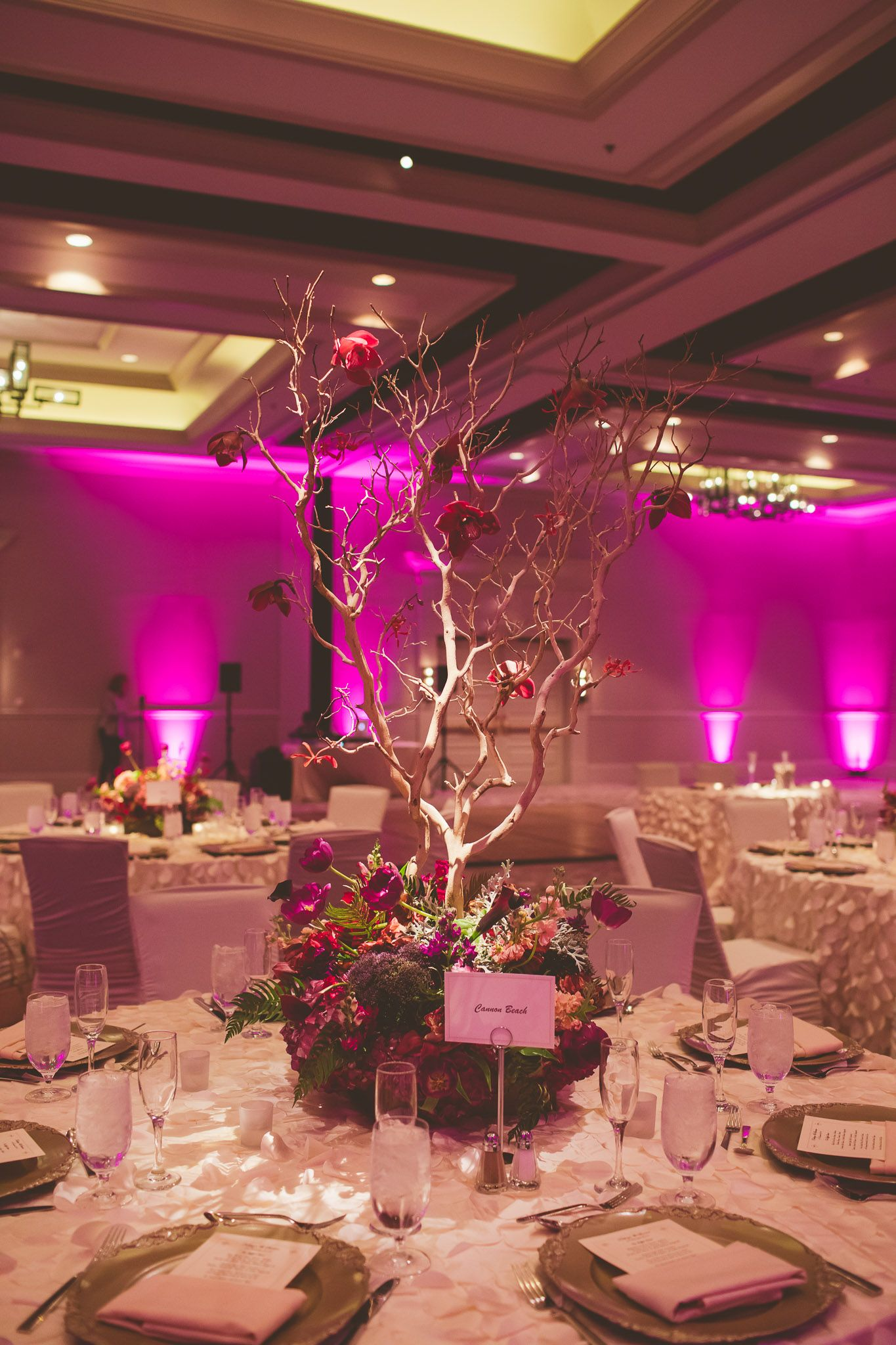 Purple And Red Flowers With Branches For Wedding Centerpiece