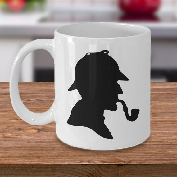 Book literature coffee mug – Famous Sherlock Holmes detective silhouette hat pipe – Sir Arthur Conan Doyle English author gift