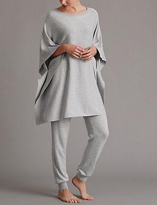 0316c7d2bc2f Poncho Pyjama Top with Cashmere