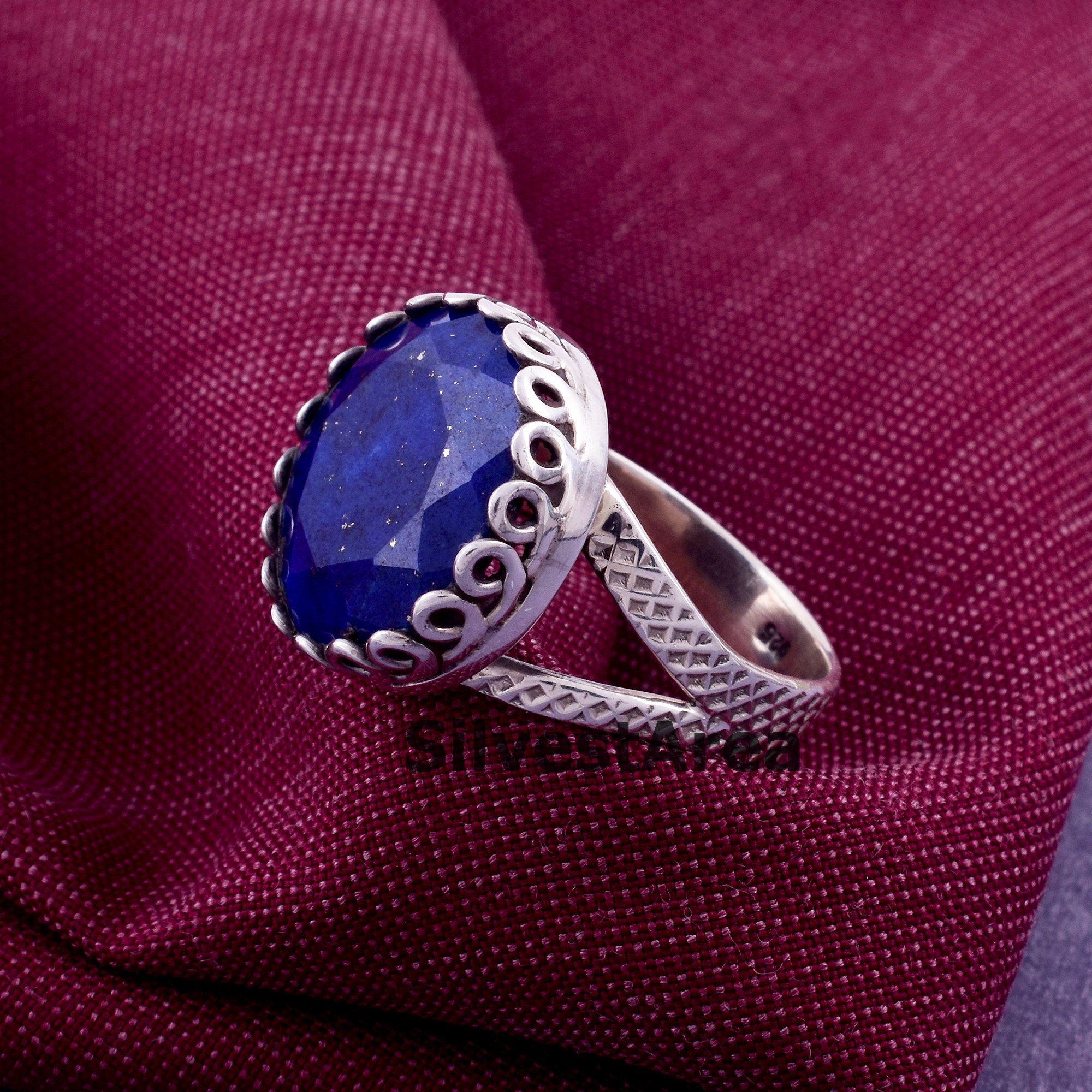 Woman/'s Jewelry Handmade Jewelry Texture Meditation Ring Artisan Gift Blue Stone Ring Designer Ring Spinner Ring Lapis Lazuli Ring
