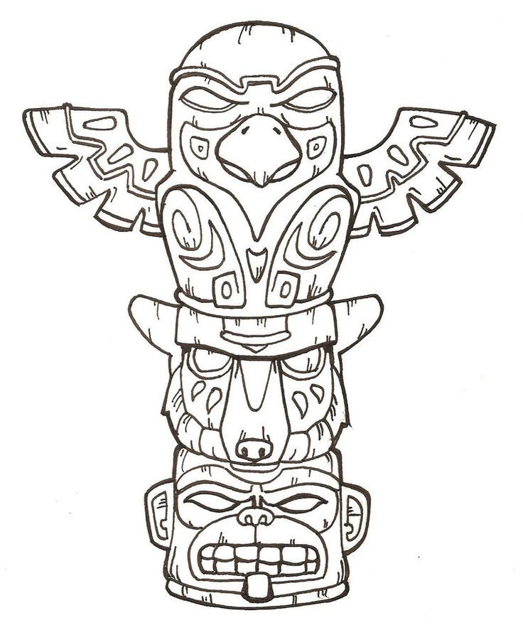 totem pole coloring pages - Totem Pole Animals Coloring Pages