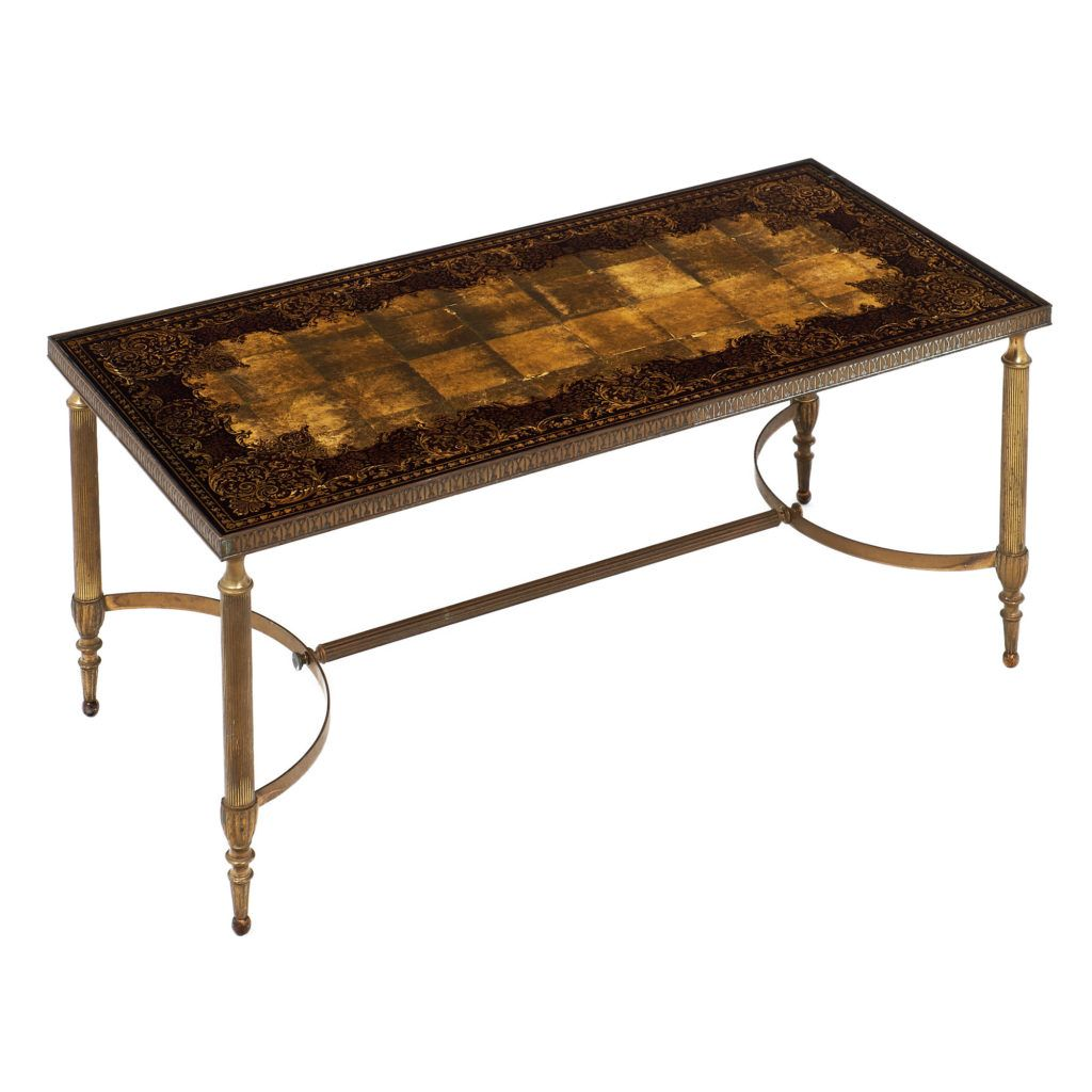 Brass And Gold Leaf Coffee Table 17E66