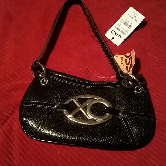 Xoxo Mini Clutch Purse New With Tags Black Boogie Nights Inside Cute Silver Xo Plaque On Front Bags