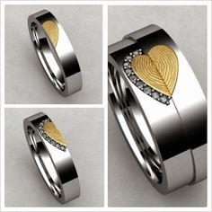 These matching wedding rings include mm his and hers wedding bands in white gold with a yellow gold fingerprint heart inlay. Ten round diamonds accent the women's band for one-tenth total weight.