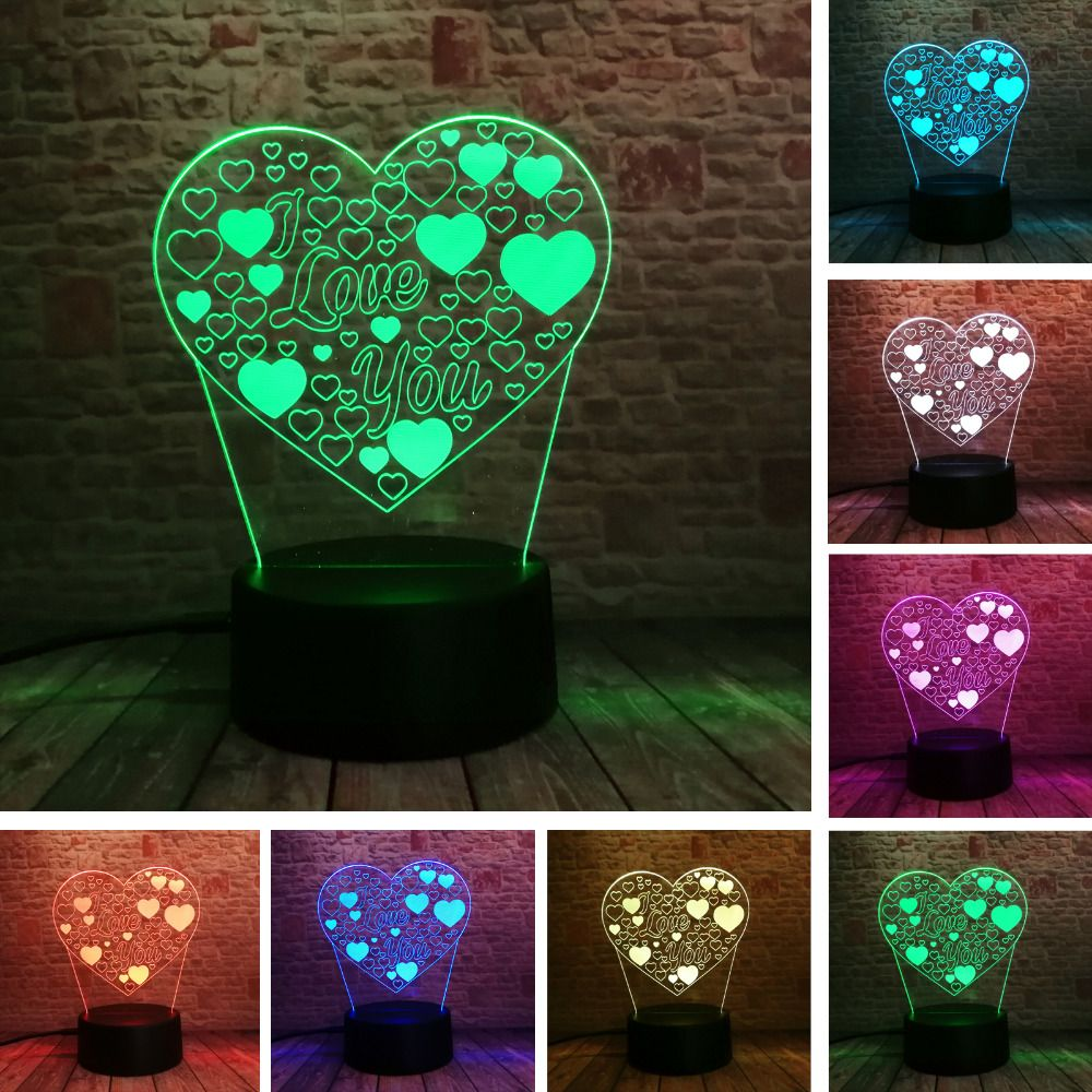 Amroe 3d Illusion Love Heart Led Lamp With I Love You 7 Color Flash Rgb Night Lamp As Couple Lovers Birthday Xmas Toy Gifts Xmas Toys 3d Illusions Toys Gift