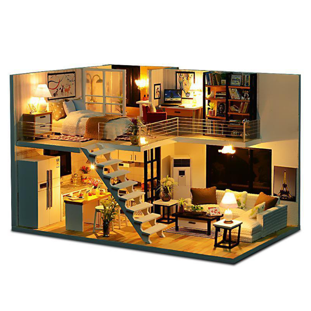 DIY Wooden House Apartment Dollhouse With Furniture Kits Light Creative Gift