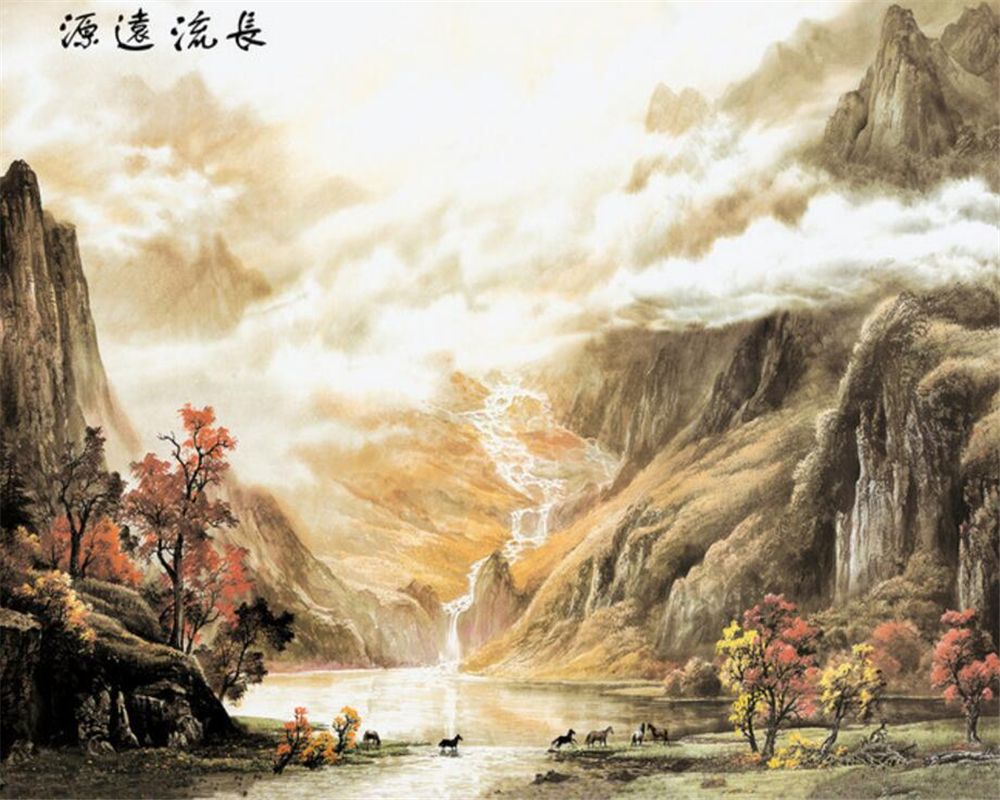 Beibehang Custom Wallpaper Chinese Painting Landscape Background Mountain Water Living Room Bedroom Walls