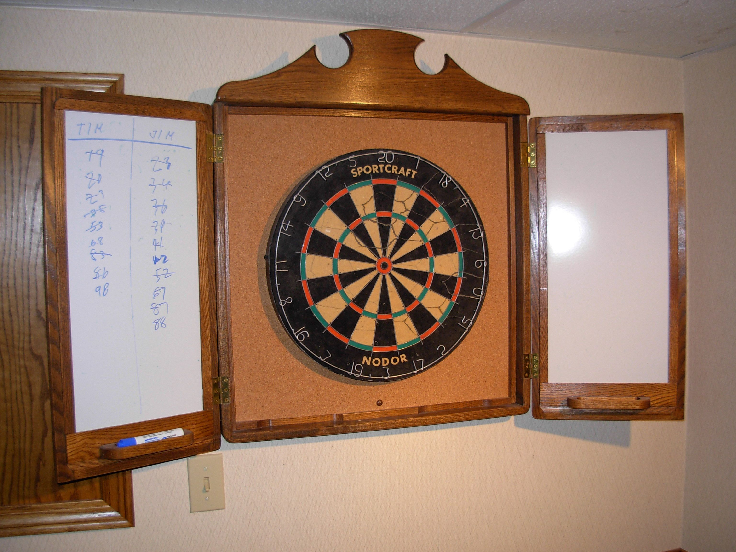 Exceptional Dart Board Cabinet With Cork Back And Dry Erase Boards On Each Side