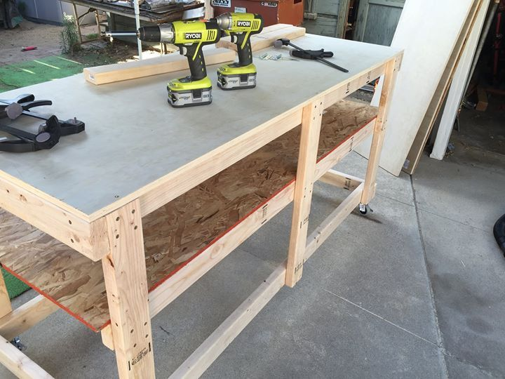 Diy projects rolling workbench with collapsible