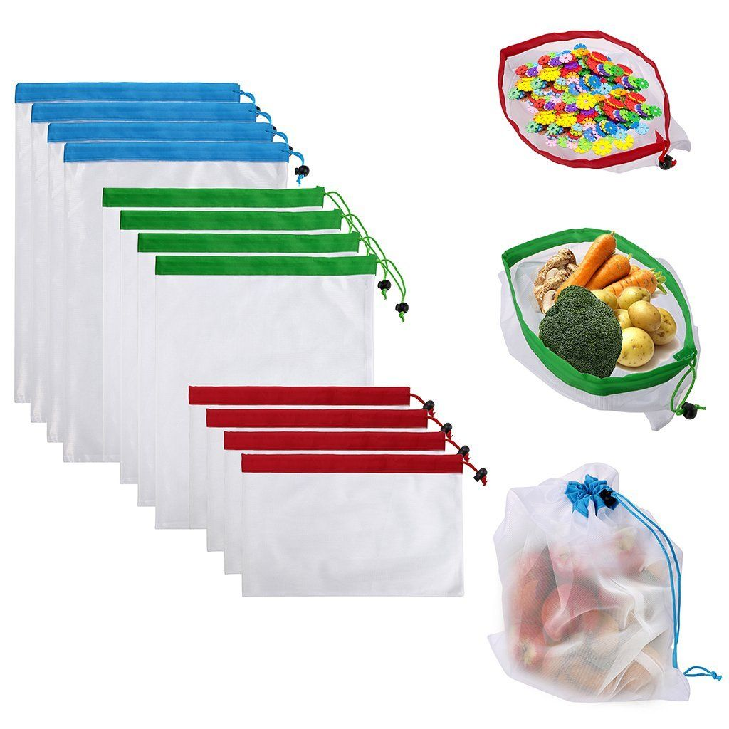 Sumnacon 12pcs Reusable Produce Storage Bags Washable Mesh Bag Grocery Ping For Fruit Vegetable