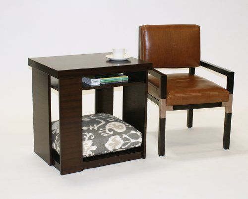 $$>  Doggiedasherie End Table with Pet Bed, Dark Mahogany