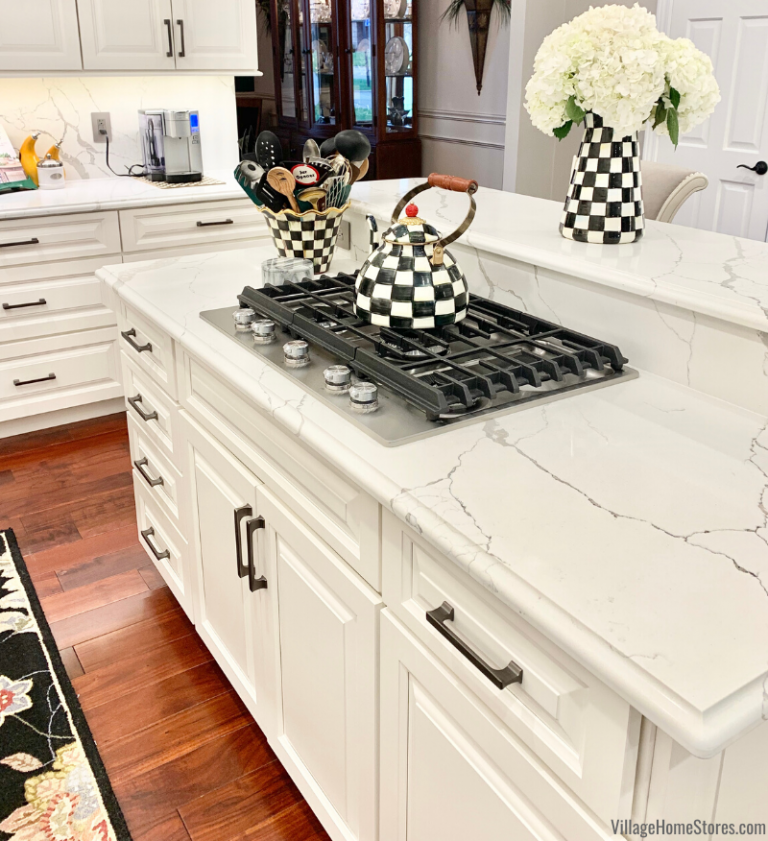 Dual Height Kitchen Island With Gas Cooktop Installed Mackenzie Childs Courtly Check Teap Kitchen Remodel Small Kitchen Cooktop Kitchen Island With Cooktop